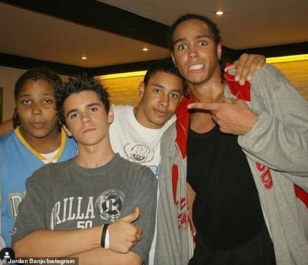 Memories:The Diversity star, 28, (far left) was overweight as a child and lost an incredible 10 stone with the help of his brother Ashley, 32 (far right)