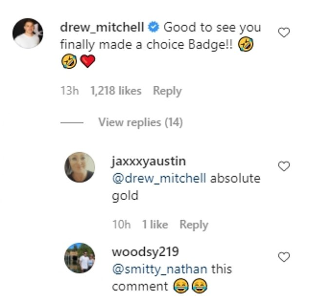 Sledging: 'Good to see you finally made a choice Badge!' rugby star Drew Mitchell commented on Instagram, adding a series of laughing-face emojis