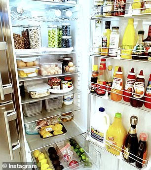 Many mums revealed they section their fridges into categories and make use labels and budget containers to store food according to colour, type and/or family member (pictured)