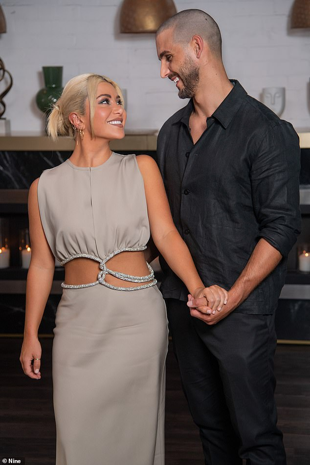 Style: Daily Mail Australia takes a look at the Married At First Sight reunion looks. (Pictured: Martha Kalifatidis and Michael Brunelli)