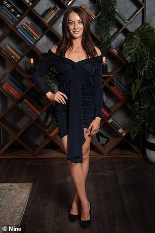 Ready for her comeback: Ines Basic, 30, (pictured) looked every inch the star in a navy-blue, off-the-shoulder Bianca & Bridgett dress mini dress worth $290