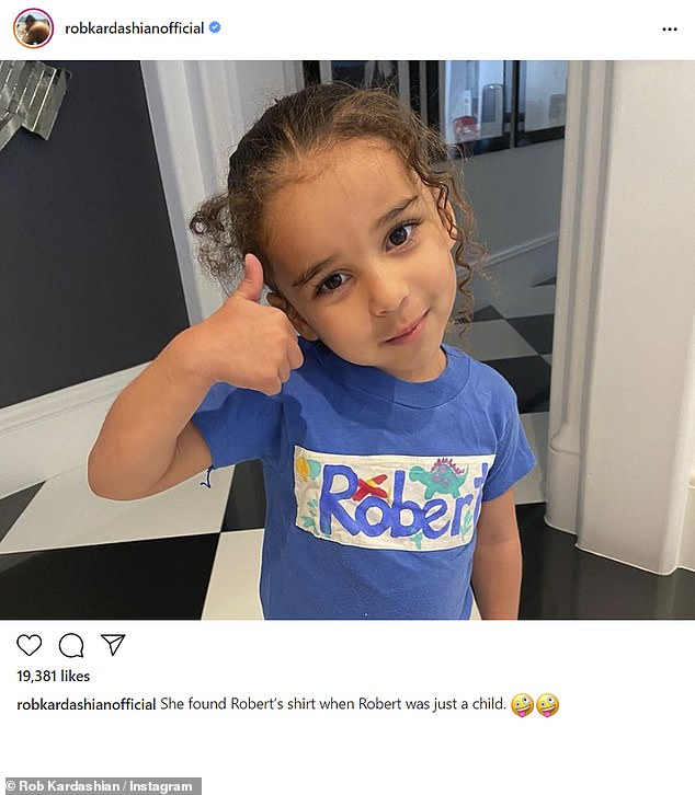Sweet: Rob Kardashian has shared a photo of his daughter Dream, four, wearing a brightly-coloured t-shirt from his own or his father's childhood