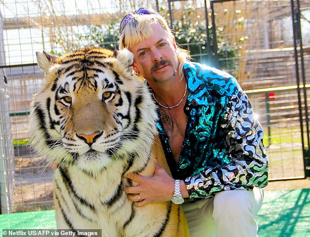 'Livid':Tiger King fans were left 'absolutely livid' on Wednesday after Joe Exotic missed out on a pardon from Donald Trump (pictured in show still)