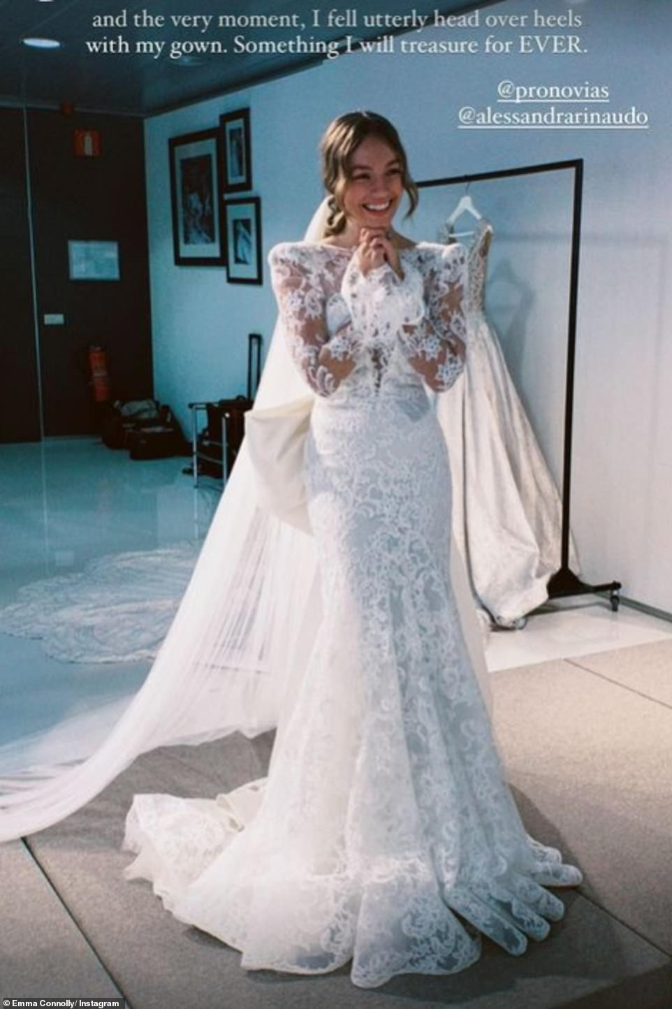 The bride: Emma, 29, took to Instagram on Wednesday - the day after the couple announced they married in secret before Christmas - to delight her avid followers with behind-the-scenes photos capturing the process of creating her dream dress