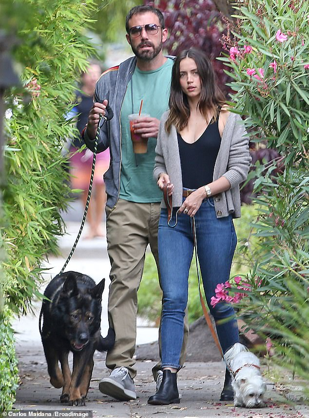 Former: Ben and Ana met on the set of Deep Water, which will be released this summer; seen on July 1, 2020 in Venice Beach with their pups