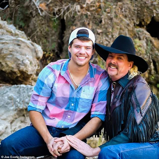 Plans:Joe Exotic's legal team had expected a pardon from the outgoing president and were even ready to pick him up in a limo from a Fort Worth prison to immediately get his hair done before seeing his husband Dillon Passage (pictured together before going to jail)