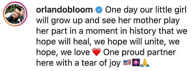 So proud!  After his performance, Orlando shared a clip on his Instagram page and said he was a `` very proud partner '' and said their baby girl, Daisy Dove, five months old, will one day grow up and see her mother play. his role in a moment.  in history'