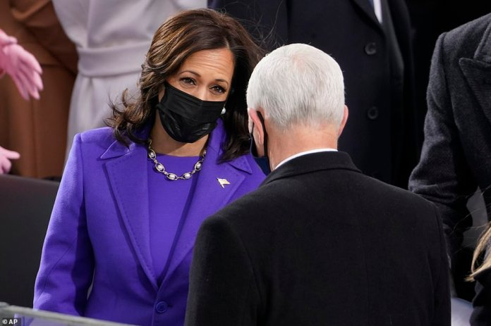 Moment of unity: Mike Pence and Kamala Harris spoke on the Capitol platform - which Trump refused to do with Biden