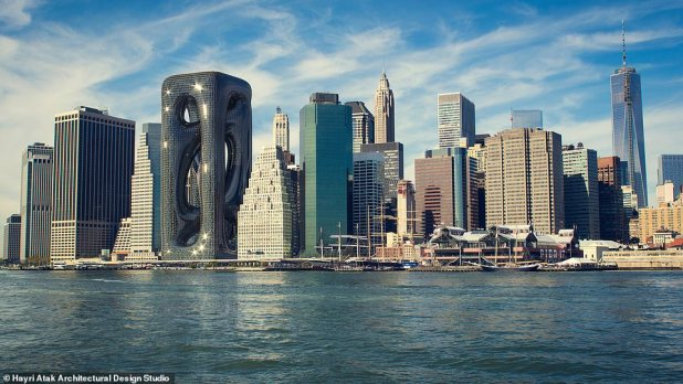 Eye-popping rendering is unveiled for 210 meters (688 ft).  The sci-fi-style New York skyscraper that looks almost as if fashioned from a play-doh.