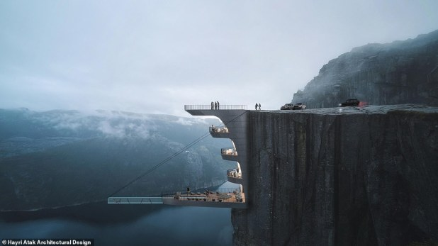 The Gravity-less Norwegian Hotel Concept of Harry Etk Architectural Design Studio, which features a cantilever glass-bottomed swimming pool.