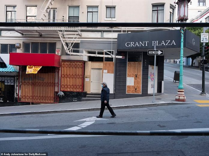 SAN FRANCISCO: Many restaurants and businesses in the area remain boarded up in 2021