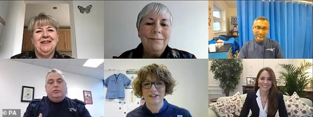Wearing a smart black blazer with a white blouse, 39-year-old Kate from the nurses of University Hospitals Coventry and Warwickshire NHS Trust via video link (above) to hear about her work and to thank her for her efforts during the epidemic talked to.