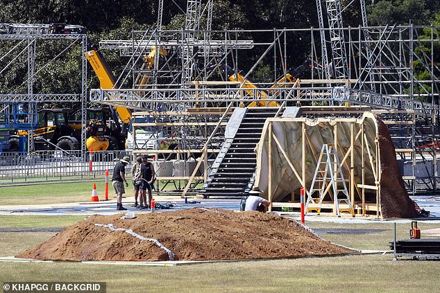 Coming soon: A pile of dirt sits in the middle of the park, surrounded by brown set pieces that resemble rocks or ant colonies
