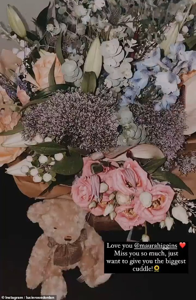 Sign of support: Taking for her Instagram stories, Lucie, 23, shared a video of the gorgeous bouquet sent by the Irish beauty along with a caramel-colored teddy bear and a card