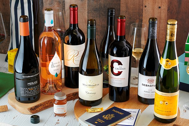 Flagship Cellar customers can select from curated collections of mixed wines, build their own custom box, or purchase a monthly wine subscription, which includes three 'prestigious' wines for $99.99, including delivery. Pictured are wines offered with the service