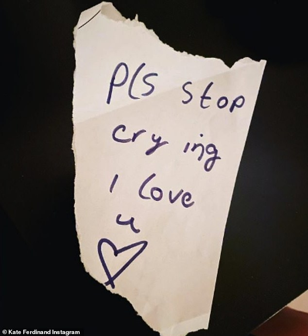 'Stop crying': This comes after Kate showed a sweet handwritten note from her nine-year-old stepdaughter Tia asking her to stop crying after feeling overwhelmed with emotion
