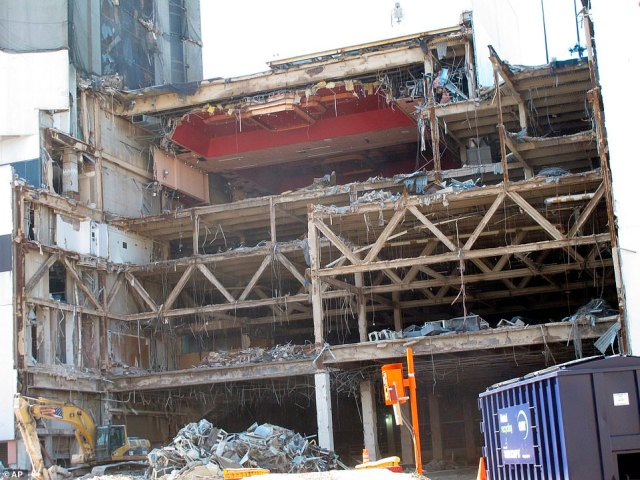 This October 2020 photo shows the partially demolished Trump Plaza casino in Atlantic City