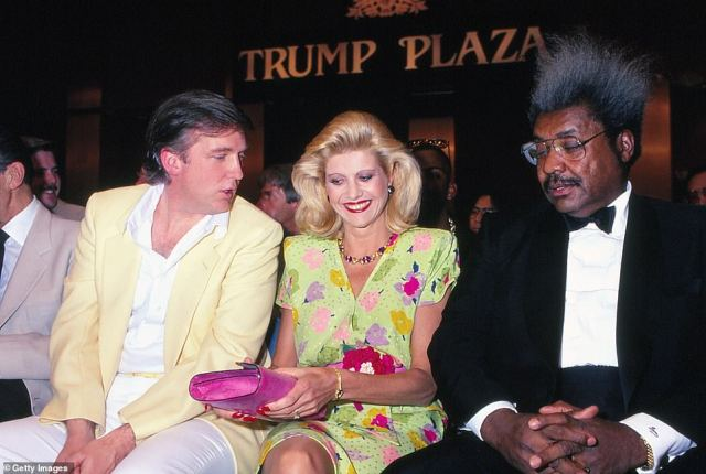 Trump and first wife Ivana are pictured with boxing promoter Don King at the Tyson vs Spinks weigh in at the Plaza in 1988