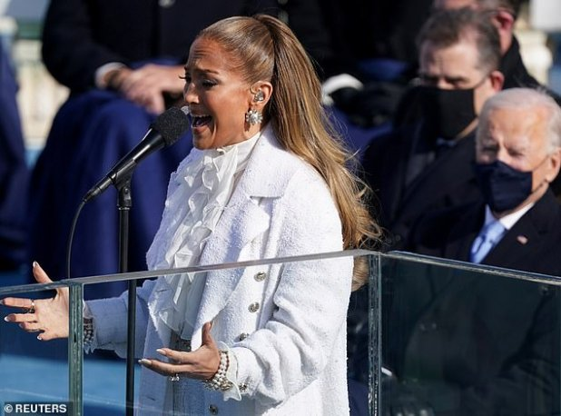 Her amazing reality: Jlo greeted crowds around the world (and new US president Joe Biden, Wright) with his singing talents at the US presidential inauguration ceremony on Wednesday