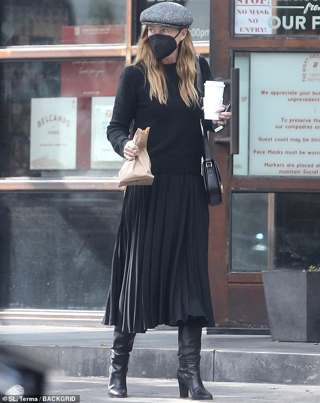 She's from the Northeast: And Ellen Pompeo was NYC chic even when she was spotted going out for coffee and takeout in Los Angeles this week