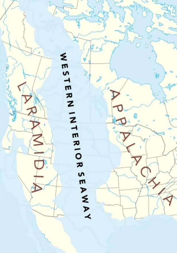 The construction of the sea produced a long, thin landmass known as larimia in the west and broad, more rectangular Appalachia in the east