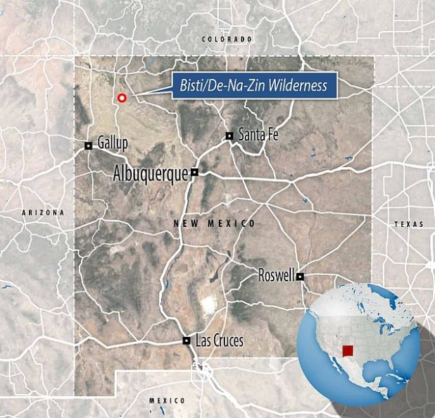 The Bisti / De-Na-Zin Wilderness is a 45,000-acre (18,000 hectare) wilderness area located in San Juan County in the US state of New Mexico.