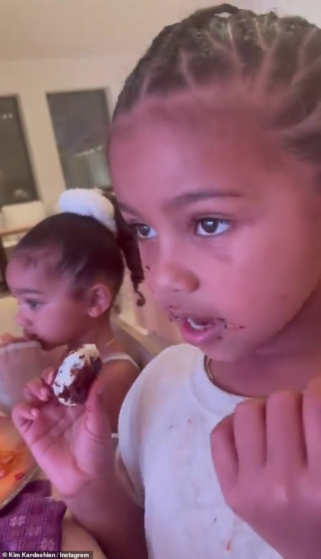 Too Kind: Kim Kardashian posted an endearing video to her Instagram Stories on Monday, showing her son Saint practicing Japanese with daughter Chicago in the background