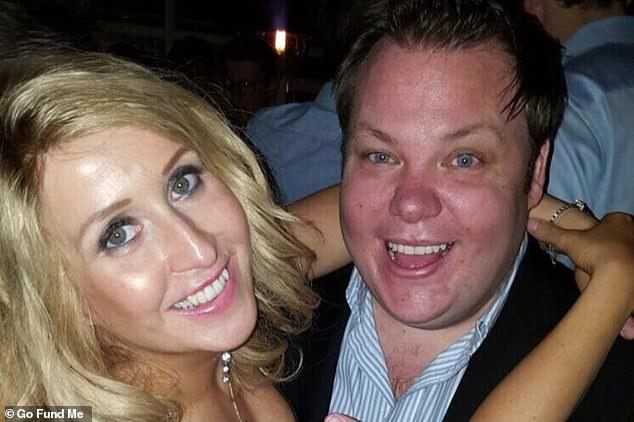 The page was set up to raise £100,000 in just ten days for Terry (pictured with journalist friend Sarah-Louise Robertson) after his friends were told his insurance only covered the first 24 hours of care