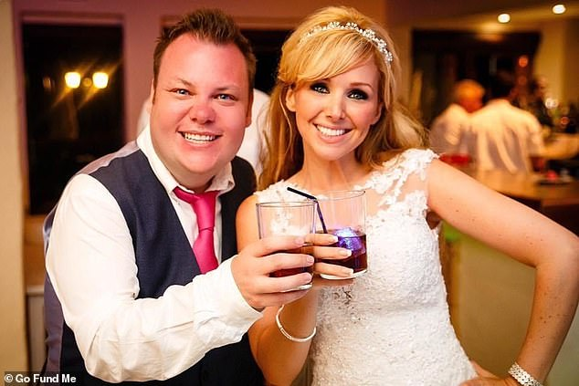 Cancer survivor Terry Mills, 38, originally from Devon, caught Covid-19 during a business trip which later developed into pneumonia. Pictured, with friend Gemma Khan on her wedding day