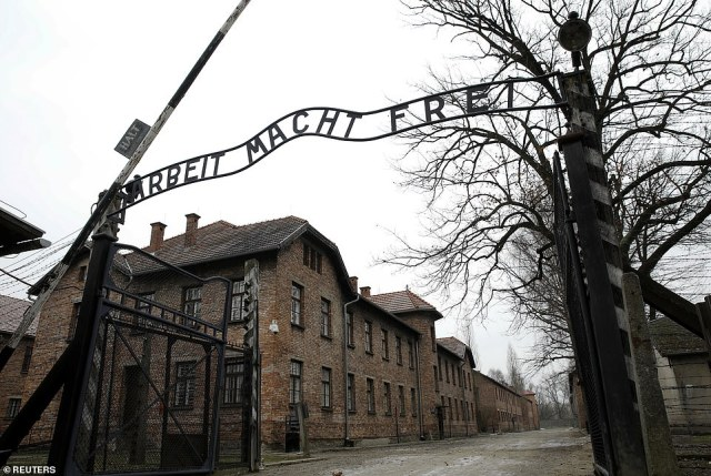 POLAND: The entrance to Auschwitz, with its infamous sign saying 'Arbeit Macht Frei' or 'Work sets you free', is seen on Monday ahead of the anniversary