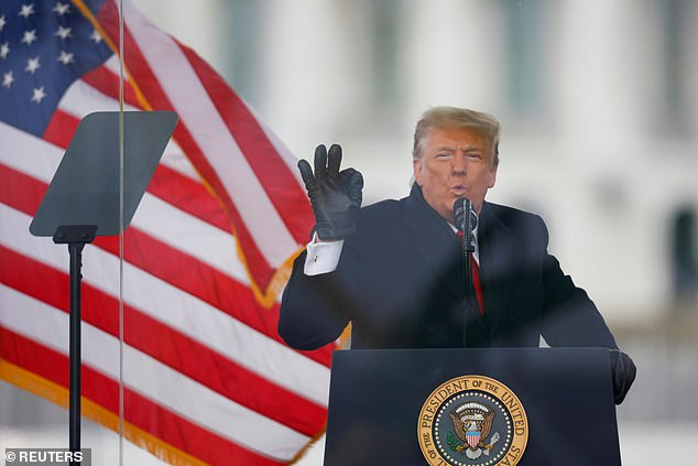 Trump (pictured at the MAGA rally on January 6 before rioters stormed the Capitol) was furious at Fox News for calling Arizona and even demanded his son-in-law, Jared Kushner, call Murdoch to demand a retraction. Murdoch refused