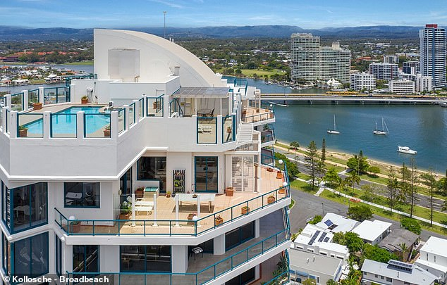 The two level penthouse in the Waratah Building at Main Beach on the Gold Coast has been owned by the Smorgon family for 20 years (pictured)