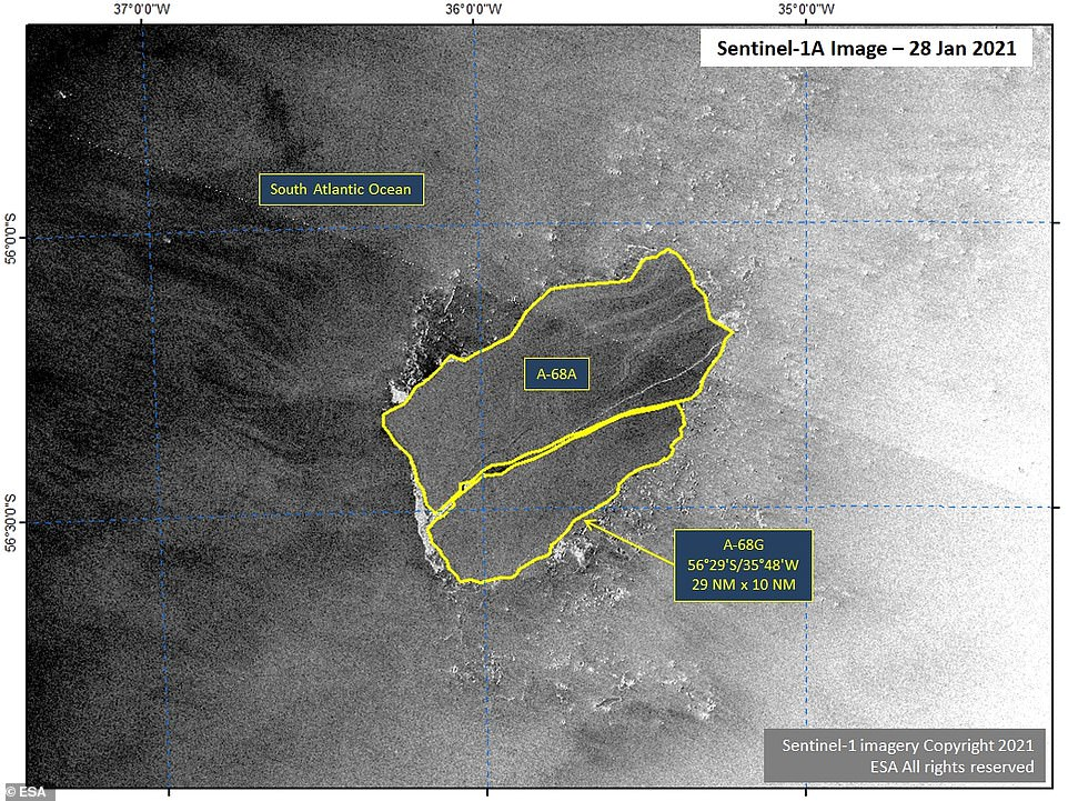 Earlier this year, the US National Ice Center confirmed that a new iceberg calved had from iceberg A-68A in the South Atlantic Ocean, as first reported by the British Antarctic Survey. Pictured: Images from European radar imaging satellite Sentinel-1A showed A68-A — the primary remaining fragment of A68 — and A68-G on January 28, 2021