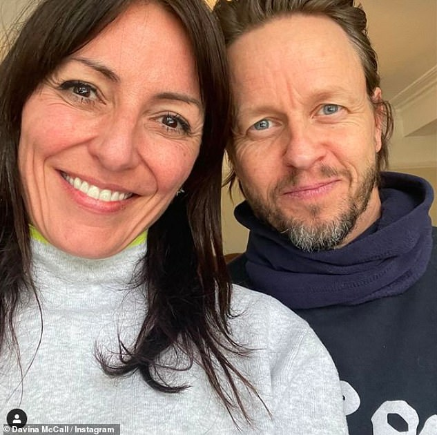Davina McCall shares a rare photo with boyfriend Michael Douglas to promote their podcast