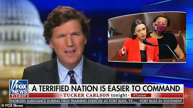 Tucker Carlson on Friday night accused Ocasio-Cortez of setting out to 'terrify' the USA