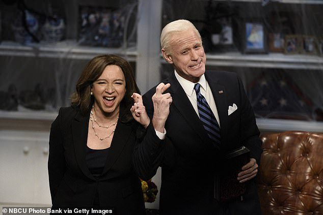 Saturday Night Live has completely avoided parodying Joe Biden and Kamala Harris in its first episode since the couple were sworn in.  Maya Rudolph as Kamala Harris and Jim Carrey as Joe Biden on SNL last October