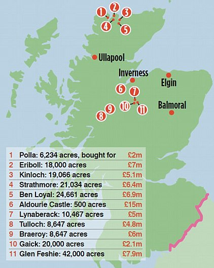 Mr Povlsen has bought 11 Scottish estates (pictured as of 2016)