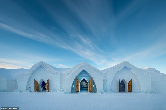 Canada's incredible ice hotel, Hôtel de Glace, is built and rebuilt each year using snow and ice. Pictured is the 21st version of the hotel
