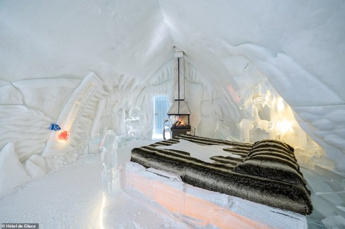 In order to stay warm while spending a night in one of Hôtel de Glace's suites, pictured, guests are provided with Arctic sleeping bags