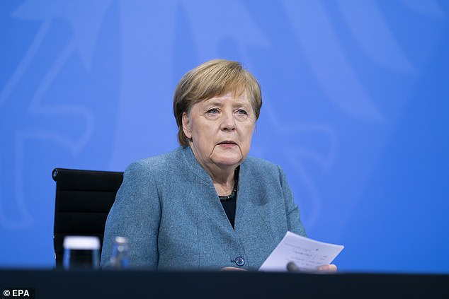 Pictured:German Chancellor Angela Merkel speaking after a vaccine 'summit' that brought together key players. She renewed a promise to offer every German citizen a vaccine by the end of September