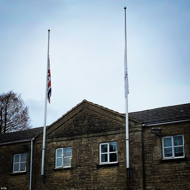 Flags flown at half mast over the officers of Cotswold District Council in tribute to Captain Tom. This image was shared byJoe Harris, Leader of Cotswold District Council