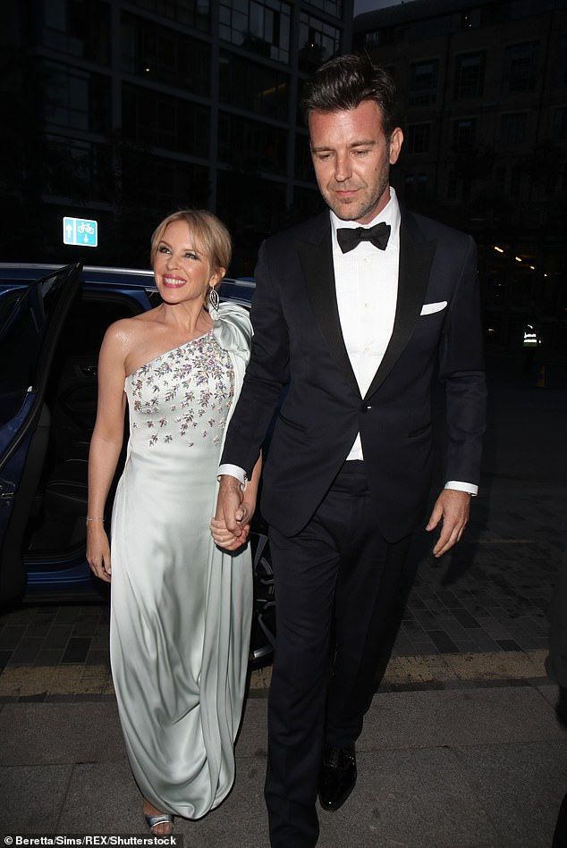 Hero: Her'dramatic turn' saw her get taken to hospital by a man she later learned was Paul Solomons, who is now Kylie Minogue's fiancé (pictured in 2019)