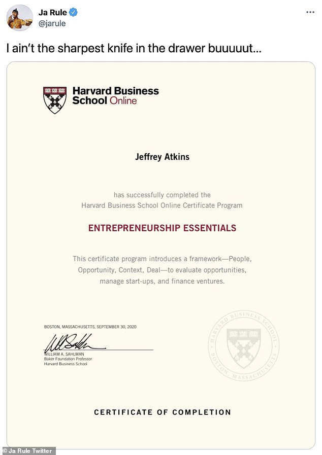 Student:The certificate lists Jeffrey Atkins as having completed the Entrepreneurship Essentials program, which is a four-week long virtual education course costing $1,050 with no prerequisites to sign up