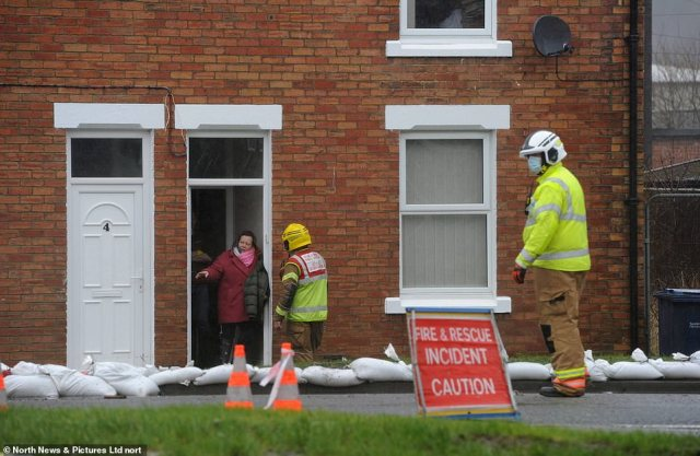 The adverse weather has seen emergency services arrive in the village of Houghton in County Durham amid flooding today