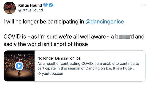 In his own words: The comedian took to Twitter on Wednesday evening to announce in a video message that he has sadly had to withdraw from the ITV skating competition
