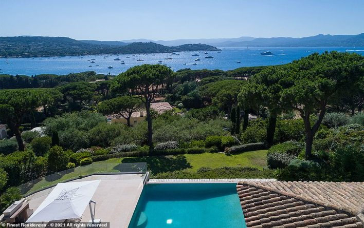 Finest Residences, a global luxury real estate network that's listing the house, says that from each room, 'one can enjoy a breathtaking panoramic view over a perfectly maintained lush park and the Mediterranean Sea'