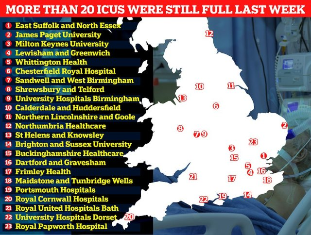 Despitethe figures show 23 NHS trusts across England did not have a single spare intensive care bed on January 31. These included University Hospitals Birmingham NHS Foundation Trust, one of the largest trusts in England, along with Sandwell & West Birmingham Hospitals NHS Trust