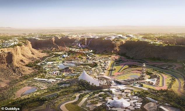 A rendering of the 128-square-mile Qiddiya complex, whereSix Flags Qiddiya in Saudi Arabia is being built