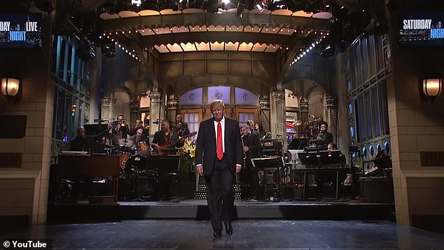 Trump had been a member of SAG since 1989 said the union had done 'nothing' for him. He is pictured appearing on Saturday Night Live in 2015