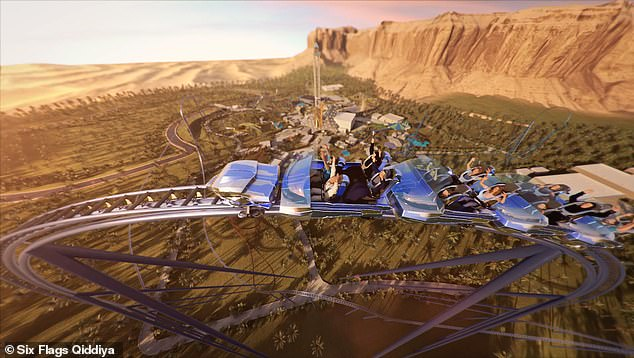The roller coaster is planned to have a 2.5 mile-long track that takes riders around curves, loops and a vertical cliff into a 525-foot deep valley